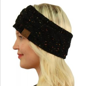 C.C Confetti Fuzzy Fleece Lined Black Headband